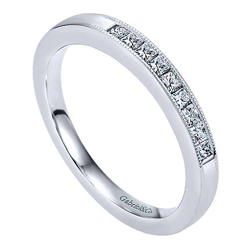 14k White Gold Princess Cut 9 Stone Channel Set Band