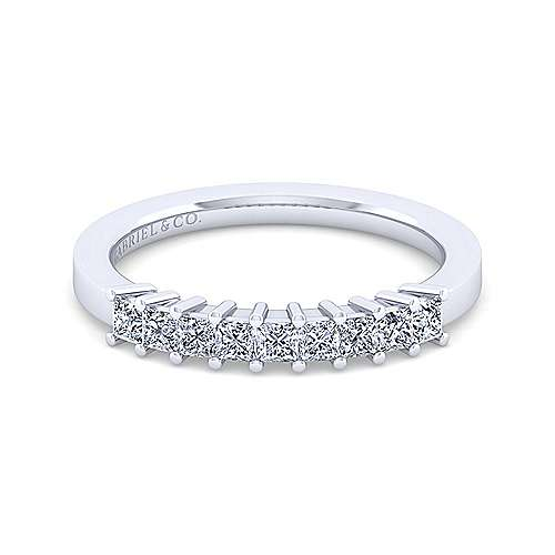 Gabriel - 14k White Gold Princess Cut 9 Stone Prong Set Anniversary Band