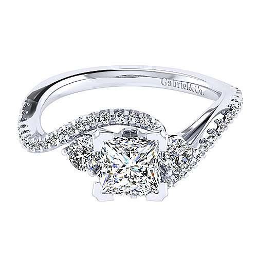 14k White Gold Princess Cut Bypass Engagement Ring angle 1