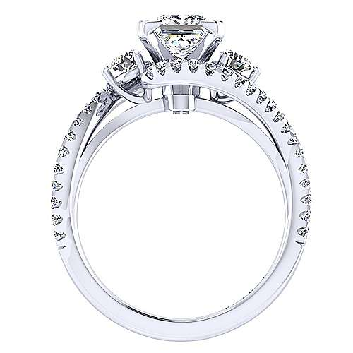 14k White Gold Princess Cut Bypass Engagement Ring angle 2
