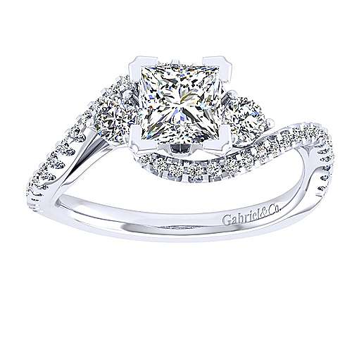 14k White Gold Princess Cut Bypass Engagement Ring angle 5