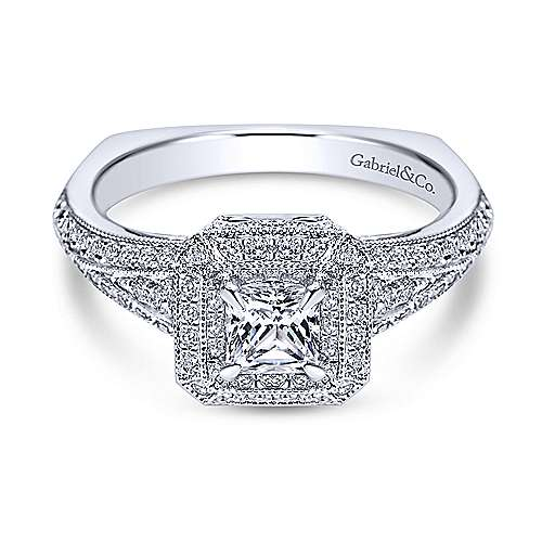 14k White Gold Princess Cut Double Halo Engagement Ring angle 1