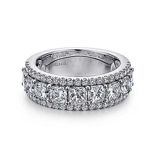 Gabriel - 14k White Gold Princess Cut Fancy Anniversary Band