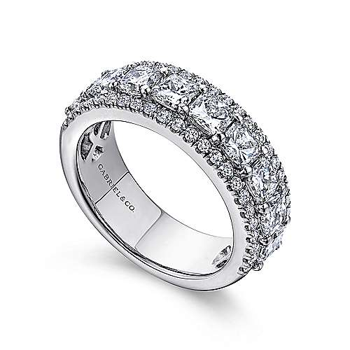 14k White Gold Princess Cut Fancy Anniversary Band