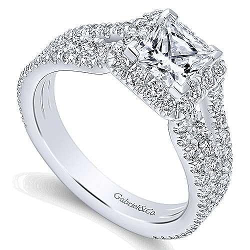 14k White Gold Princess Cut Halo Engagement Ring angle 3