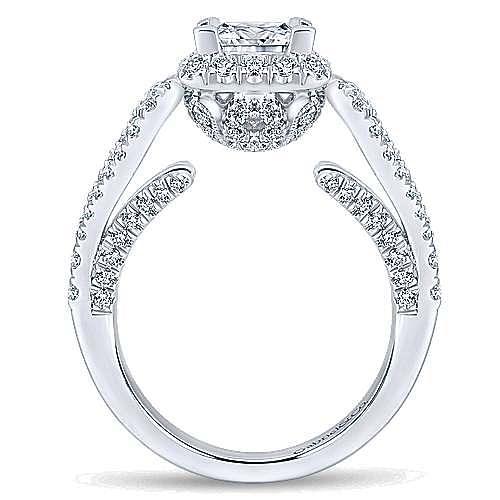 14k White Gold Princess Cut Halo Engagement Ring angle 2
