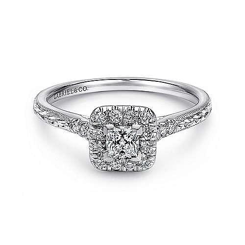 Gabriel - 14k White Gold Princess Cut Halo Engagement Ring