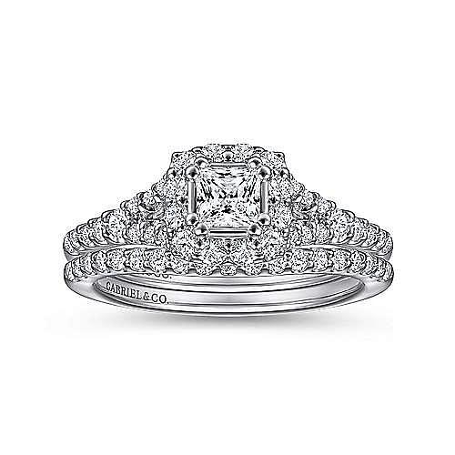 14k White Gold Princess Cut Halo Engagement Ring angle 4