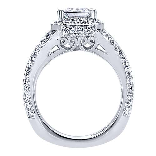 14k White Gold Princess Cut Halo Engagement Ring angle 2