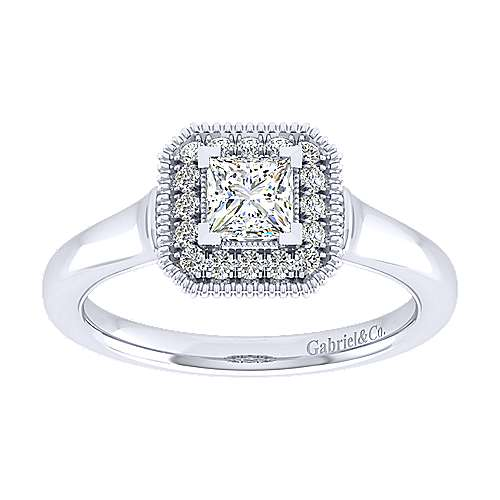 14k White Gold Princess Cut Perfect Match Engagement Ring angle 5