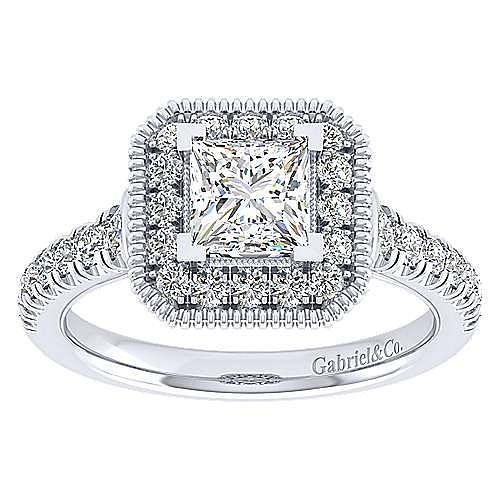 14k White Gold Princess Cut Perfect Match Engagement Ring angle 5