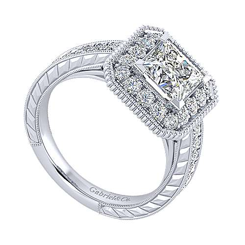 14k White Gold Princess Cut Perfect Match Engagement Ring angle 3