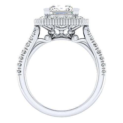 14k White Gold Princess Cut Perfect Match Engagement Ring angle 2