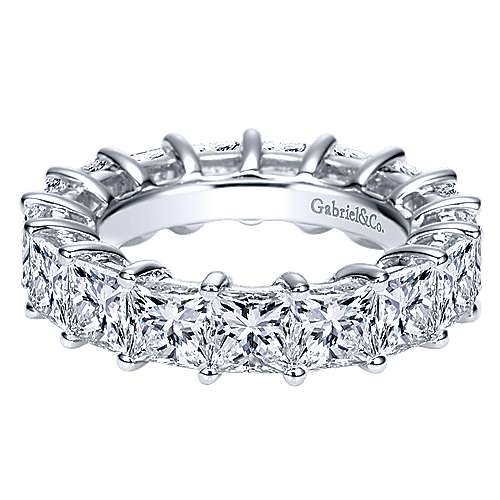 Gabriel - 14k White Gold Princess Cut Prong Set Eternity Band