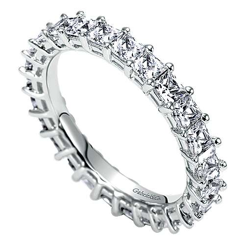 14k White Gold Princess Cut Shared Prong Eternity Band