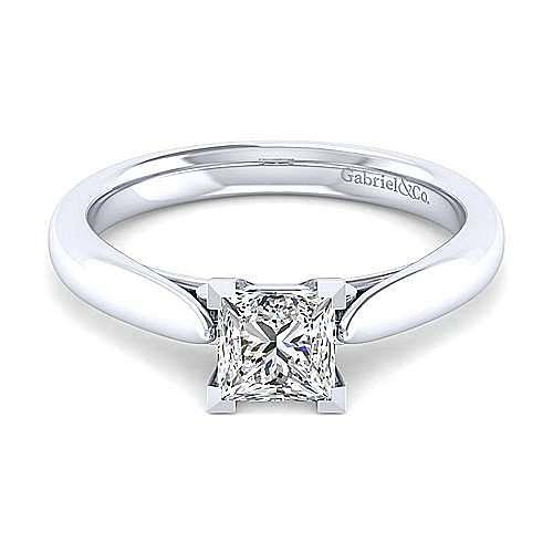 Gabriel - 14k White Gold Princess Cut Solitaire Engagement Ring