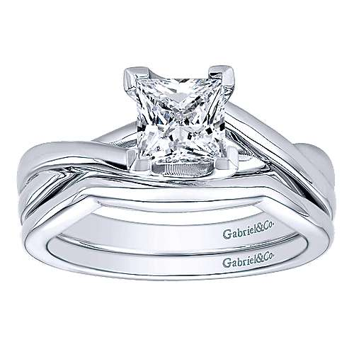 14k White Gold Princess Cut Solitaire Engagement Ring angle 4