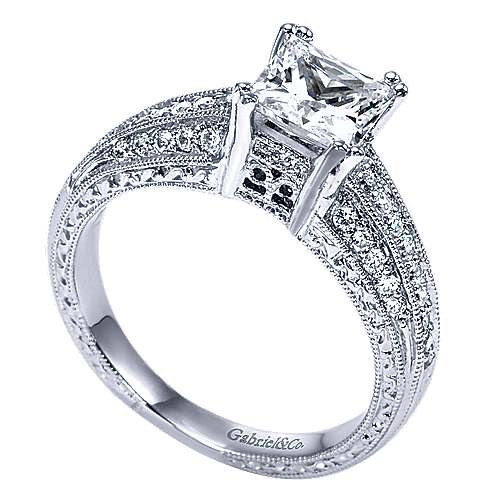 14k White Gold Princess Cut Straight Engagement Ring angle 3