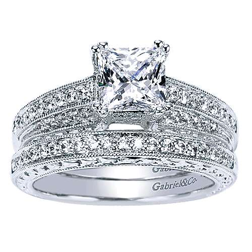 14k White Gold Princess Cut Straight Engagement Ring angle 4
