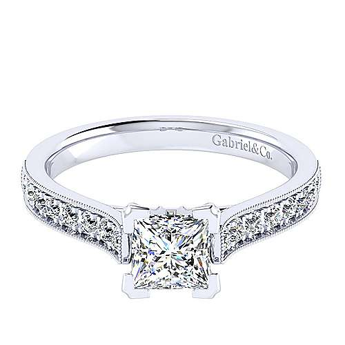 Gabriel - 14k White Gold Princess Cut Straight Engagement Ring