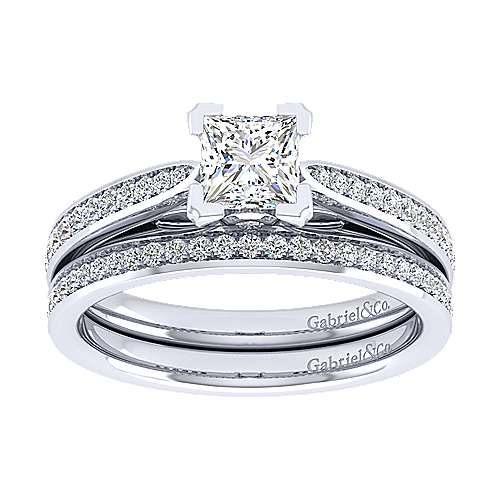 14k White Gold Princess Cut Straight Engagement Ring ER8000W44JJ