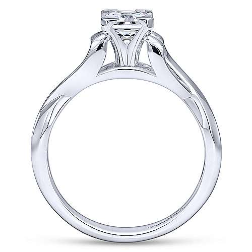 14k White Gold Princess Cut Twisted Engagement Ring angle 2