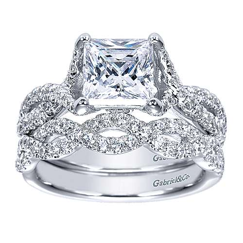 14k White Gold Princess Cut Twisted Engagement Ring angle 4