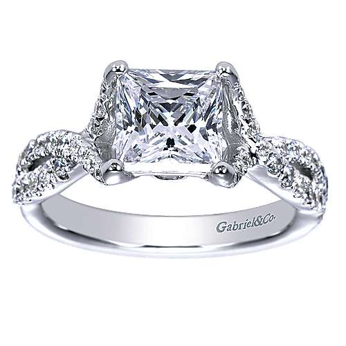14k White Gold Princess Cut Twisted Engagement Ring angle 5