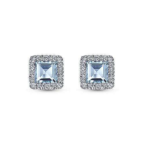14k White Gold Princess Halo Aquamarine and Diamond Stud Earrings