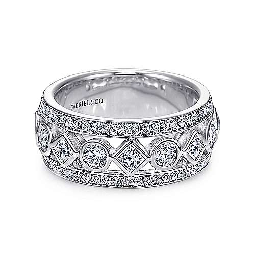 Gabriel - 14k White Gold Princess and Round Cut Fancy Anniversary Band