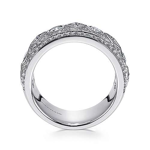 14k White Gold Princess and Round Cut Fancy Anniversary Band