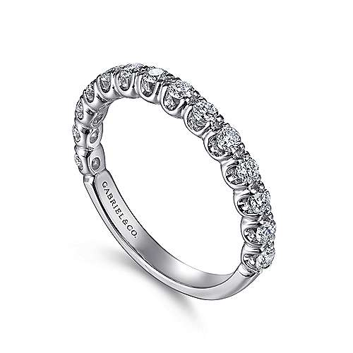 14k White Gold Prong Set Band