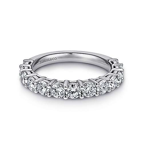 14k White Gold Prong Set Diamond Band