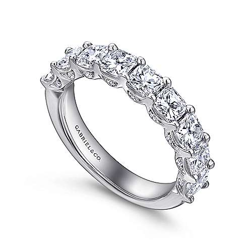 14k White Gold Radiant Cut 9 Stone Diamond Anniversary Band angle 3