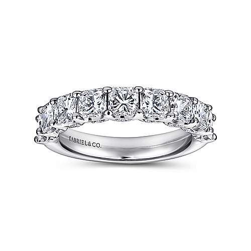 14k White Gold Radiant Cut 9 Stone Diamond Anniversary Band angle 4