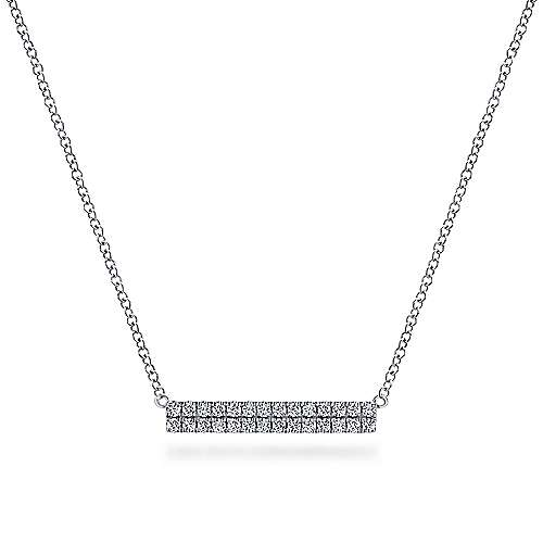 14k White Gold Rectangular Diamond Bar Necklace