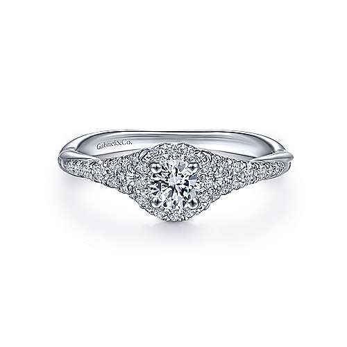 Gabriel - 14k White Gold Reverse Tapered Round Halo Engagement Ring