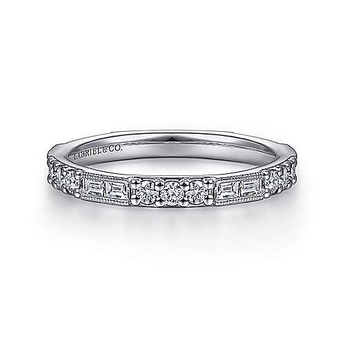 Gabriel - 14k White Gold Round & Baguette Diamond Stackable Ring