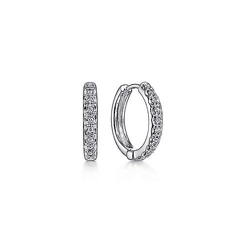 14k White Gold Round 10mm Diamond Huggie Earrings