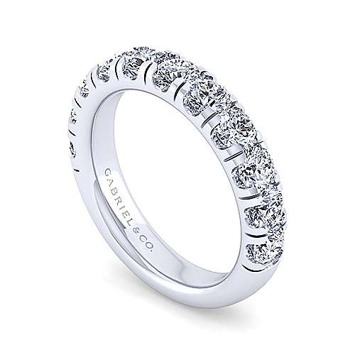 14k White Gold Round 11 Stone Diamond Anniversary Band