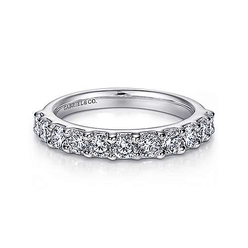 14k White Gold Round 11 Stone Diamond Anniversary Band angle 1
