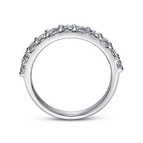 14k White Gold Round 11 Stone Diamond Anniversary Band angle 2