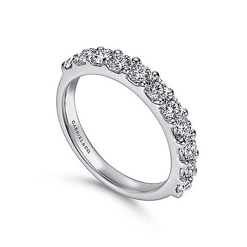 14k White Gold Round 11 Stone Diamond Anniversary Band angle 3