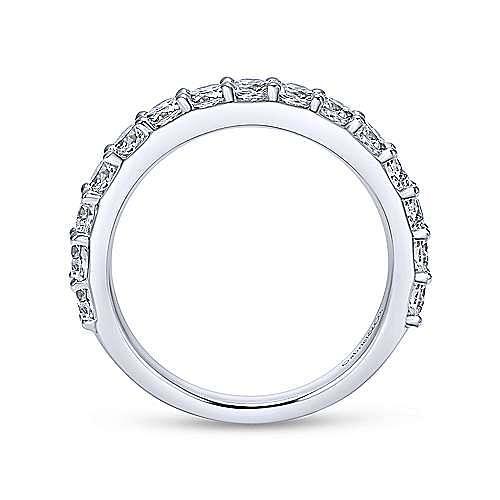 14k White Gold Round 15 Stone Diamond Anniversary Band angle 2