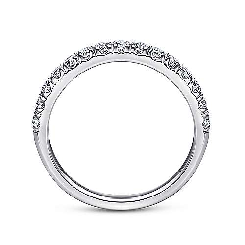 14k White Gold Round 15 Stone Diamond Anniversary Band angle 2