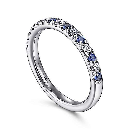 14k White Gold Round 15 Stone Diamond and Sapphire Anniversary Band angle 3