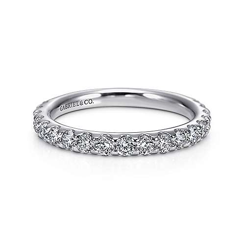 14k White Gold Round 19 Stone Diamond Anniversary Band angle 1