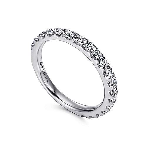 14k White Gold Round 19 Stone Diamond Anniversary Band angle 3