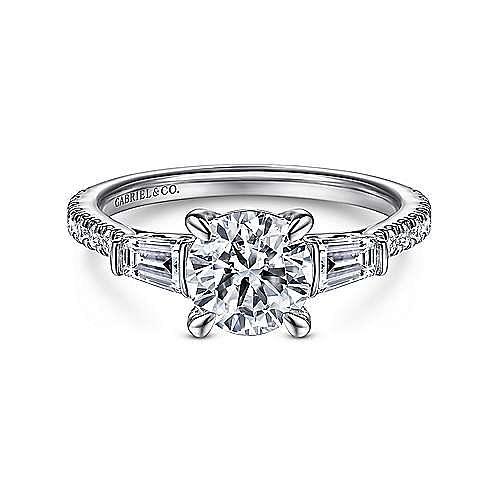Gabriel - 14k White Gold Round 3 Stone Diamond Engagement Ring