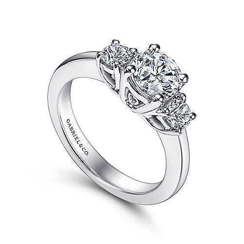 14k White Gold Round 3 Stones Engagement Ring angle 3